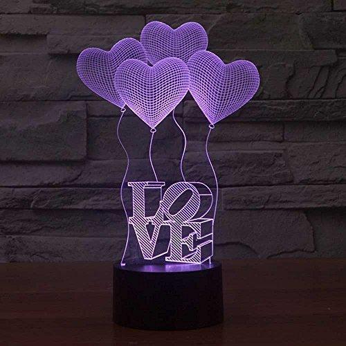 Ahat Romantische 3D Led Illusion Tisch Schreibtisch Deko Lampe 7 Farben ändern Nacht Licht für Schlafzimmer Home Decoration, Hochzeit, Geburtstag, Weihnachten und Valentine Geschenk(Vier Herz Liebe)
