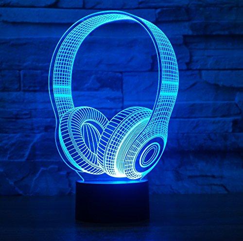 Kopfhörer Hologramm 3d Lampe Nachttischlampe, Nachtlicht fürs Kinderzimmer, LED Lampe fürs Wohnzimmer