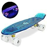 """WeSkate 55cm Skateboard Complete Crystal 22"""" Cruiser Skate Board mit LED leuchten Räder/Deck"""