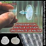 20 Stck. Folienhalter, Halterung - GREEN24® Befestigung für Luftpolsterfolie Isolierfolie Noppenfolie, zum kleben.
