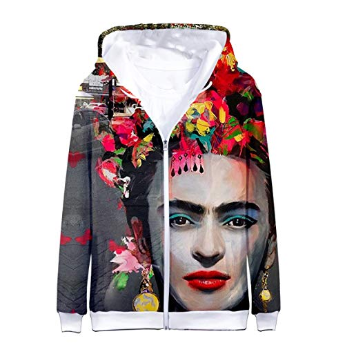 CNBJMAZA Frida Kahlo Sudaderas con Cremallera con Estampado 3D Mujeres con Capucha Harajuku Sudadera Chaqueta Abrigo