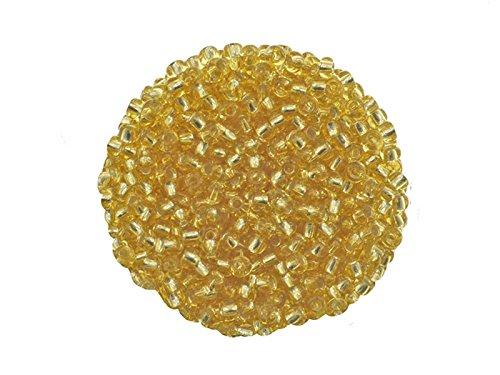 Creative-Beads böhmische Glasperlen, Rocailles, 2.6 mm. Silbereinzug. 15 gr. Döschen, goldfarben um Schmuck, Deko, Armband selber zu machen oder basteln