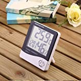 #3: Flipco Digital Hygrometer Thermometer Humidity Meter with clock LCD Display HTC-1