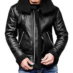 Manteau Homme à Capuche Fourrure Vestes Zippé Aviateur en Cuir Hiver éPais Chaud Manche Longues Coat (M, Noir)