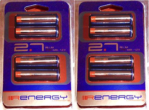 Lot de 8 piles AA rechargeables Ni-Mh. 2700mah. (LR6)
