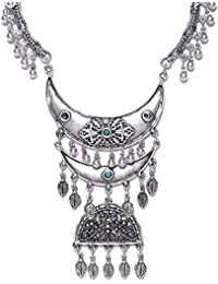 Thingalicious Oxidised Jewellery Silver-Plated Handcrafted Semi Precious Stone-Studded Necklace For Women & Girls