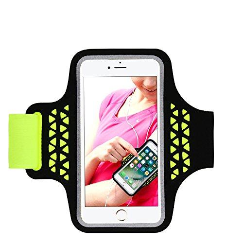Sport-Laufarmband, Handy-Schutzhülle für iPhone 8/7/6 / 6S iPhone X, Samsung Galaxy S5 S6 S7 Bis zu 5,2 Zoll, Sweat-Proof Armband mit Reflect Stripe, Key und Kartenhalter