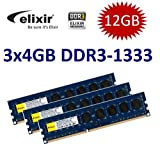 12GB Triple Channel Kit: Elixir Original 3x 4 GB 240 pin DDR3-1333 DIMM (1333Mhz, PC3-10600U, CL9, 256Mx8, NON-ECC, unbuffered) - Part M2F4G64CB8HB5N-CG für alle DDR3 Computer und Core i3 / i7 / i9 Mainboards mit Triple Channel