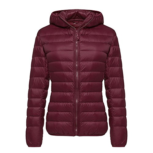 SWISSWELL Damen Daunen Jacke Mantel mit Hut Übergangs Mix Frauen Lady Mädchen Winddicht Outdoor Leicht Wasserdicht Bodywarmer Rot M