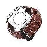 Für Apple Watch Armband 42mm, Bandmax Braunes Echtes Lederarmband mit Schwarzer Metall...