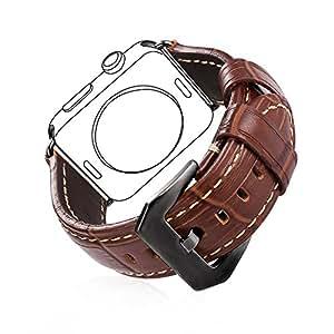 Bandmax Braun Lederarmband mit Schwarzer Metall Gürtelschnalle Ersatzarmband Uhrenarmband für Apple Watch 42MM Series 2 / Series 1(Schwarz)