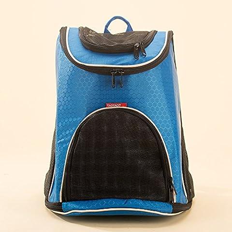 KAI-Filet respirant chien animaux paquet double portable sacs à bandoulière pour chiens et chats David Chu Outdoor Sac à dos?30X24X36cm?blue