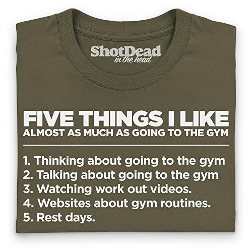 Five Things I Like - The Gym T-Shirt Funny Novelty Gift, Herren Olivgrn