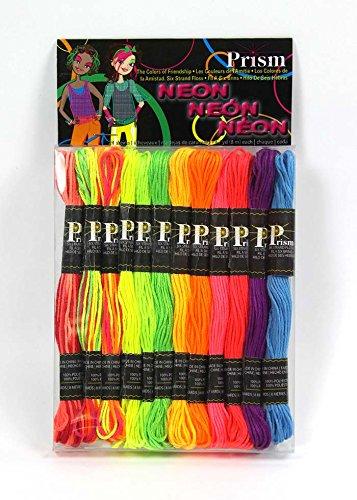 DMC Stilechtes Prism Floss Pack sechsreihig 8,7YD, Neon, 24Stück