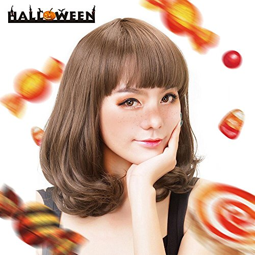Rabbitgoo Perücke mit Bang lockig Bob Fashion Wigs für Halloween Cosplay Karneval Party (Hellbraun)
