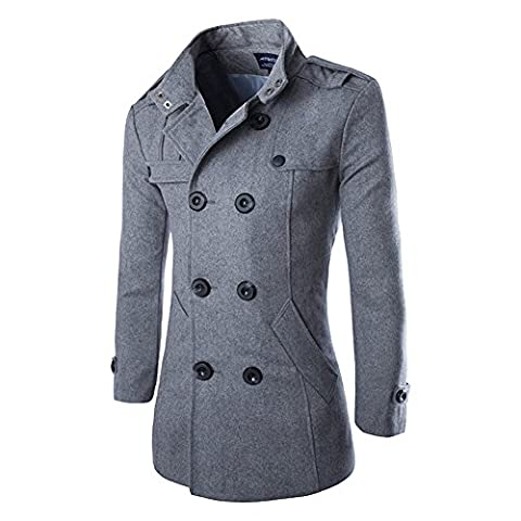 Vktech® Men's Woolen Outerwear Winter Pea Overcoat Double Breasted Trench Coats (XL, Gray)