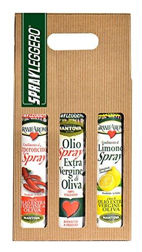 Confezione 3 x 250 ml spray: olio extravergine d'oliva, condimento al limone e al peperoncino