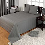 Homescapes waschbare Tagesdecke Sofaüberwurf Überwurfdecke Rajput 225 x 255 cm in Ripp-Optik Bettüberwurf aus 100% reiner Baumwolle in grau-grün
