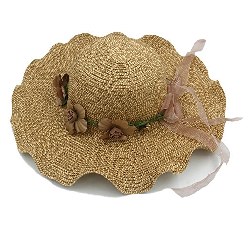Sunny&Baby Sommer-Frauen-Damen-Elegante Blumen-Kappe Große Wellen-Breiter Rand-Hawaii-Strand-Sonnenhut-Reise-Bast-Stroh-Hut Mode (Color : Tan, Size : 58cm) Tan Raffia