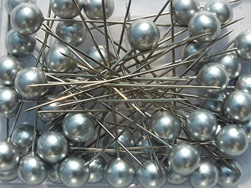 Perlen-Nadeln Deko-Nadeln Perle SILBER 10mm 50 Stück ACHTUNG! KEINE STECKNADELN