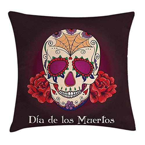 Day Of The Dead Decor Throw Pillow Cushion Cover, Dia de Los Muertos Quote with Spanish Skull Dead Head Vivid Print, Decorative Square Accent Pillow Case, 18 X 18 Inches, Plum Red Cream