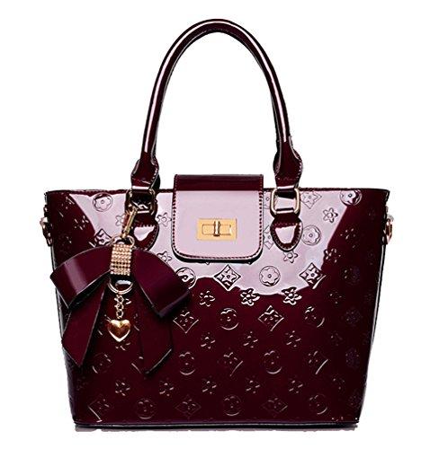 Schulter-stil Handtasche Tasche (Yan Show Damen Schulter Taschen Lackleder Handtaschen /Weinrot)