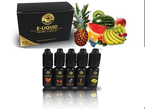 Los Liquidos E-Liquid für E-Zigarette, 5er Pack 5 x 10 ml ohne Nikotin 0mg nikotinfrei E-Shisha E-LIQUID-BOX Premiumset Elektrische Zigarette (Fruchtmix 1)