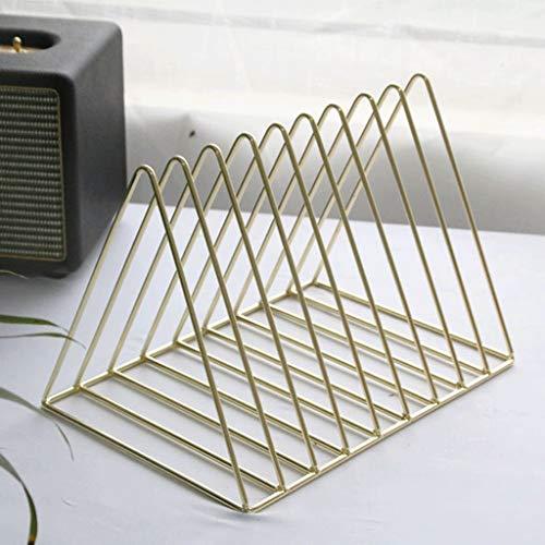 Dateihalter Dokumentenhalter Büro Schwarz Datei Bar Lagerregal Tisch Metall Student Geometrie Multilayer Ordner Aufbewahrungsbox Bücherregal Rack (Farbe : Gold) (Datei-ordner Schwarz Und Gold)
