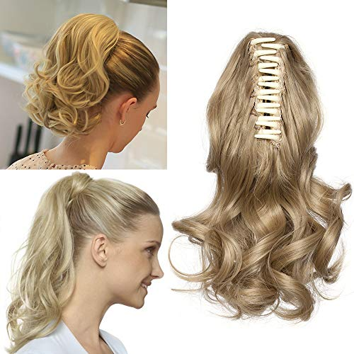 """TESS Pferdeschwanz Haarteil Ponytail Extensions Haarverlängerung Clip in Synthetik Haare für Zopf Haarteil Hair Extensions Gewellt 12""""(30cm)-110g Mittelblond"""