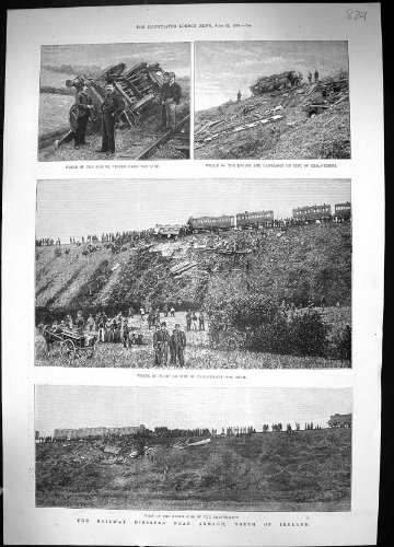 Insel-Quarantäne Monte-Video 1889 Eisenbahn-Zugunglück-Armaghs Irland Flores