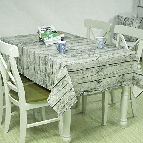 Tovaglie di emulazione Woodgrain - Misura grande copertura Vintage tessuto di cotone tavolo per mangiare, caffè, Party, Albergo, Cucina, Ristorante (200 x 140 cm)