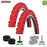 2 x Kenda MTB pneus vélo plafond + 2 tuyaux AV - 26 x 1.95 - 50-559 (Rouge)
