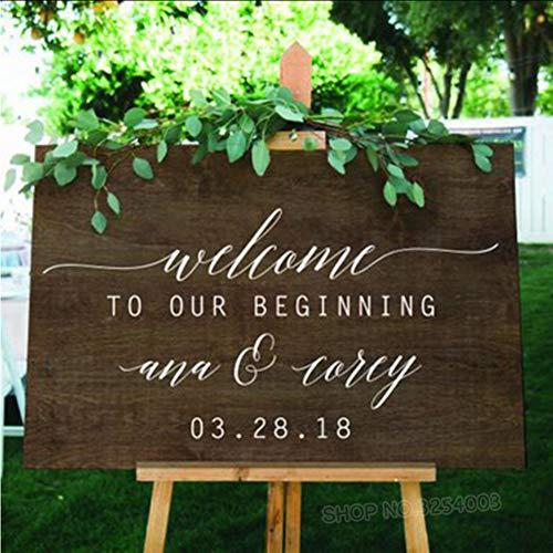 yiyiyaya Willkommen ab Zeichen Aufkleber benutzerdefinierte Hochzeit Fenster Aufkleber personalisierte Namen und Datum Spiegel Aufkleber Tafel Aufkleber 42 * 83cm