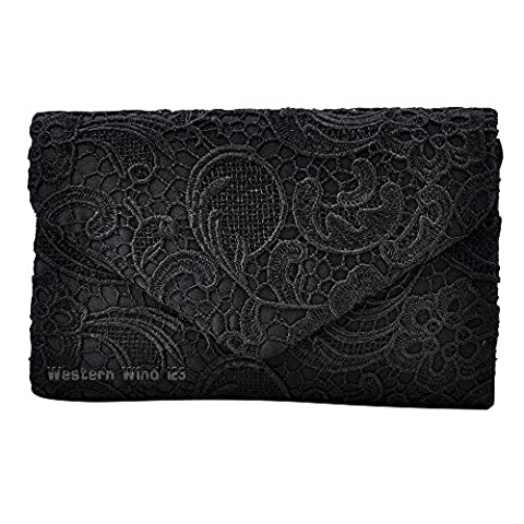 Wocharm Ladies Fashion Lace Envelope Clutch Bag Evening Prom Bag Bridal Wedding Handbag Bag (Black)