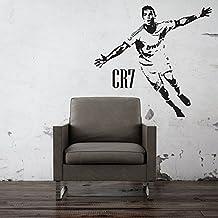 Beautiful game 5060000000000 - Cristiano ronaldo real madrid cr7 de impresión arte de la pared etiqueta de la pared de la etiqueta engomada del arte mural de fútbol para los dormitorios casa (negro)
