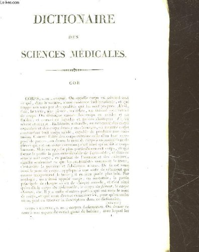 DICTIONNAIRE DES SCIENCES MEDICALES - TOME 7 - CORPS - A - CYSTOTOMIE