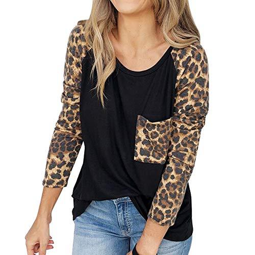 Luckycat Estampado de Leopardo de Vendaje Superpuesto Camisetas de Manga Larga para Mujer Blusa para Mujer Camisetas Mujer Camisas Mujer Tops Tallas Grandes Mujer