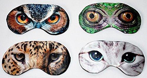 Unbekannt 4X Schlafmaske Augenmaske mit Elastikband angenehmer Tier Motiv