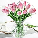 Justoyou Einstielige Latex-Tulpen, fühlen sich an wie echt, künstliche Blumen für Hochzeits-Bouquets, Zuhause, Hotel, Garten-Deco, Veranstaltungen, Weihnachten, als Geschenk, Textil, Pink-10, 10 Stück