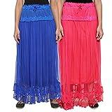 NumBrave Blue & Pink Long Flared Skirt (...