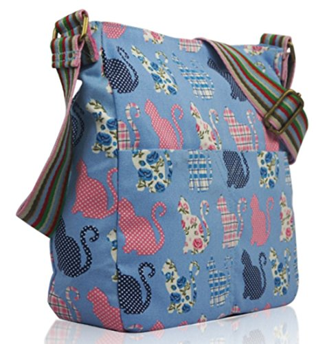 Kukubird Various Animals & Patterns Print Canvas Crossbody Bag Kitty - Light Blue