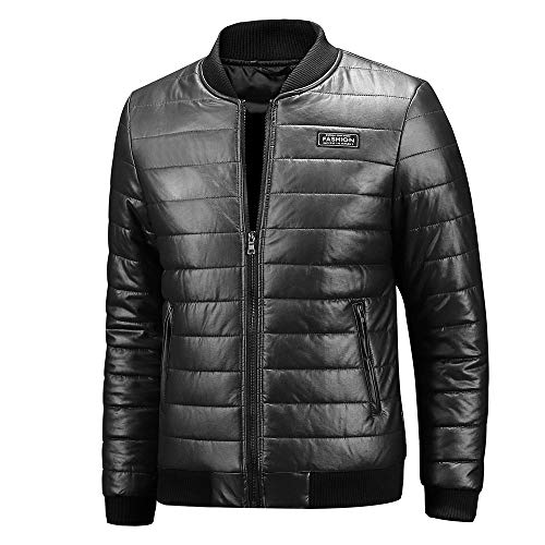CICIYONER Lederjacke Jacke Herren Kunstlederjacke Redbridge schwarz Männer Stehkragen Tailliert Slim Fit M-4XL