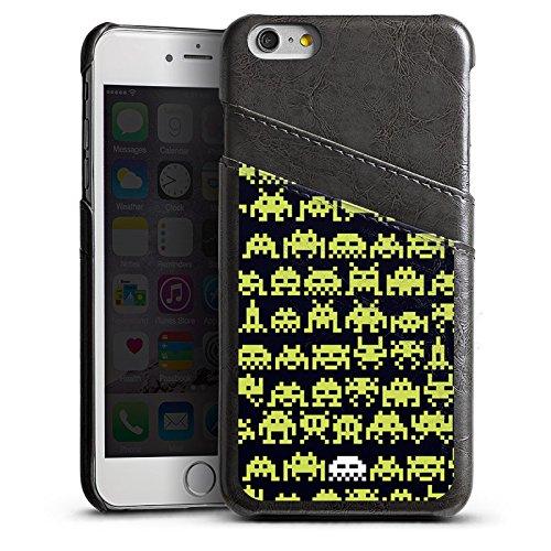 Apple iPhone 5 Housse Étui Silicone Coque Protection Sapce Invaders Alien Motif Étui en cuir gris
