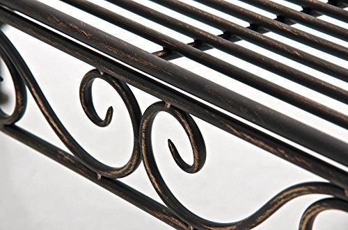 CLP Eisen-Gartenbank PARTOGUS, Recamiere rechts, romantische Verzierungen,stabile Bank, Sonnenliege, ca. 160 x 50 cm, Bronze - 8