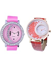 Freny Exim Sophisticated Pink Diamond Studded Dial Rubber Strap With Red Movable Diamonds In Dial Analog Watch...