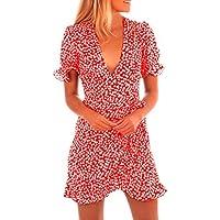 Vestidos Mujer Verano 2018 EUZeo Sexy Floral Mangas Cortas Vestidos con Cuello V Dobladillo de Flounce Largos Vestidos Playa Mujer Vestidos Elegante Mini Vestidos de Fiesta Mujer