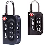 ✅TITAN PICKPROOF 4-Dial TSA Accepted Combination Padlock for Luggage Suitcases & Baggage - Heavy Duty Travel Sentry Approved Accessories for Suitcase Bag Backpack Rucksack Gym Locker (Black 2Pc)