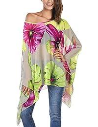 DJT Femme T-Shirt Manches Chauve-souris en Tulle Blouse Imprime Tops