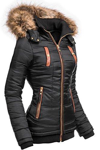Navahoo Damen Jacke Winterjacke Steppjacke Alina (vegan hergestellt) Schwarz Gr. L (80% Polyester Viskose 20%)