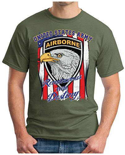 OM3 - USA-AIRBORNE - T-Shirt UNITED STATES ARMY Rendevous with Destiny EAGLE Stars & Stripes GEEK, 5XL, Oliv (Patriot-eagle-t-shirt)
